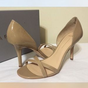Aerin Taupe Tan Patent Leather Heels Sandals